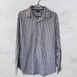 Mens long sleeve striped button up